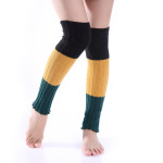 Korean Version The Fall Winter Cashmere Wool Socks Three-color Stitching Long-barreled Knee Boots Warm Leg Coverings - D One Size