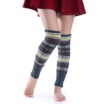 Fluorescent Autumn Winter Camouflage Bohemia Thick Wool Knee Socks Warm Boots Socks - Army Green Bottom One Size