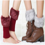 Winter Short Paragraph Introversion Plush Warm Socks Knitted Wool Leggings Ladies Boots Sets - Light Gray