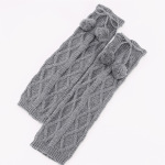 Diamond Jacquard Knit Socks Hanging Ball Female Students Fall Winter Wool Boots Leg - Black One Size