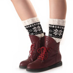 Christmas Snowflakes Fall Winter Warm Spell Color Short Paragraph Knit Wool Socks Boot Covers Leggings Set - Coffee