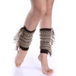 Knitting Wool Blending Female Side Tassel Short Paragraph Socks Leggings Gloves For Bohemian - Navy One Size