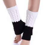 Autumn Winter Spell Color Color Socks Female Character Twist Knitting Wool Gloves For Warm Boots Knee Sleeve - Yellow + White One Size