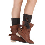 Ma Autumn Winter Pattern Turned Mouth Bow Tassel Short Paragraph Female Fashion Boots Socks Leggings Sets - Black One Size