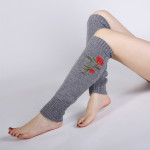 Blending Autumn Winter Roses Embroidered Knitted Wool Stockings Warm Cashmere Jacket Female Boots - White One Size