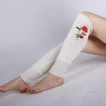 Blending Autumn Winter Roses Embroidered Knitted Wool Stockings Warm Cashmere Jacket Female Boots - Navy One Size
