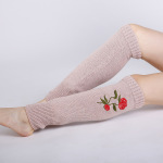 Blending Autumn Winter Roses Embroidered Knitted Wool Stockings Warm Cashmere Jacket Female Boots - Pink One Size