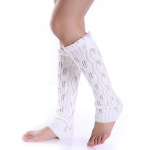 Knitting Wool Jacquard Lace Leaves Two Buttons Long Sleeve Socks Female Leggings - White One Size
