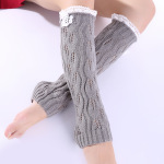 Knitting Wool Jacquard Lace Leaves Two Buttons Long Sleeve Socks Female Leggings - Pink One Size