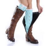 Knitting Wool Jacquard Lace Leaves Two Buttons Long Sleeve Socks Female Leggings - Black One Size