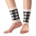 Fall Winter Color Mixing Plaid Short Paragraph Socks Knitted Wool Gloves For Warm Boot Covers Leggings - Light Gray One Size