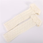 Popular Hollow Core Needle Lace Mesh Knitted Wool Introversion Warm Jacket Leg Knee Socks - Light Gray One Size