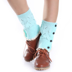 Female Autumn Winter Lace Four Buttons Mesh Knitted Wool Socks Boot Covers Leggings Set - Khaki One Size