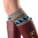 Korean Version The Autumn Winter Five-pointed Star Triangle Mixed Colors Short Paragraph Female Socks Knitted Wool Leggings Boots Set - Cream-colored One Size