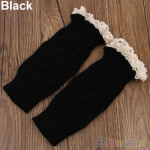 Wool Socks Jacquard Lace Leaves Openwork Knit Boots Socks Ms. - Red One Size