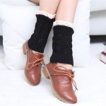 Shark Fin Hollow Lace Short Paragraph Wool Socks Knitted Leggings Female Autumn Winter Boots Booties - Light Gray One Size
