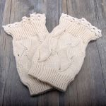 Short Paragraph Wool Socks Autumn Winter Female Shi Leisi Lace Fan Knit Short Paragraph Boots Foot Protection - Light Gray One Size
