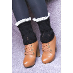 Short Paragraph Wool Socks Autumn Winter Female Shi Leisi Lace Fan Knit Short Paragraph Boots Foot Protection - Black One Size