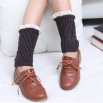 Diagonal Stripes Hollow Lace Female Short Paragraph Wool Socks Autumn Winter Warm Boots Set Foot Protection - Light Gray One Size