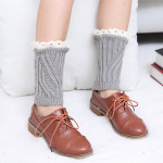 Diagonal Stripes Hollow Lace Female Short Paragraph Wool Socks Autumn Winter Warm Boots Set Foot Protection - Pink One Size