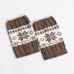 Knit Leggings Boots Wool Gloves For Winter Hit The Color Sets Of Mixed Colors Short Paragraph Christmas Snowflake Socks - Joe Green / Burgundy