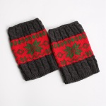 Knit Leggings Boots Wool Gloves For Winter Hit The Color Sets Of Mixed Colors Short Paragraph Christmas Snowflake Socks - Green / Red Snowflake / Black