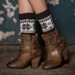 Knit Leggings Boots Wool Gloves For Winter Hit The Color Sets Of Mixed Colors Short Paragraph Christmas Snowflake Socks - Beige / White