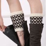Leg Warmers Leggings Sets Snowflake Christmas Stockings Spell Color Hand-knitted Boots Socks Color Wave - Old Khaki / White