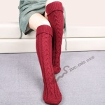 Warm Wool Socks Knitted Leg Covering Step Foot Boots Knee Diagonal 8 Word Cannabis Floor Socks - Dark Gray
