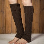 Supplying Knitting Wool Jacket And Long Sections Warm Leggings Turned Mouth Lozenge Fall And Winter Boots Socks Socks - Old Khaki