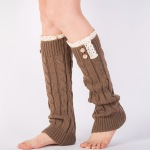 Selling Knitting Wool Leggings Warm Winter Boots Lace Socks Heavy Cannabis, 8 - Dark Coffee