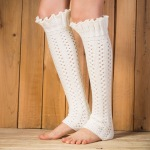Japan And South Korea Selling Knitted Socks Socks Imitation Lace Long Section Of The Introversion Pick Holes Leggings Socks Supplying - Dark Gray