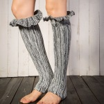 Warm Gloves For Legs Sets Of Knitting Wool Boots Turned Mouth Morning Glory Color Mixing Pumping Socks - Dark Coffee / Beige