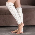 Hot Paternity Knitting Socks Lace Boots Leggings Sets - Cream-colored