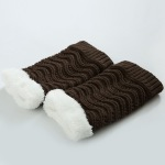 18 Winter Knit Booties Knee Thick Warm Wool Leg Warmers Boots Pteris Cashmere Socks - Light Gray