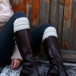 Knitting Leg Knee Sleeve Stand Warm Boots Leg Cuffs Wool Round Needle Socks Maize - Kazimierz