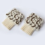Plus Fertilizer To Increase Knitted Wool Boots Leather Grass Wool Leg Warmers Leggings Short Leopard Feather Yarn Socks Turned Mouth - Black