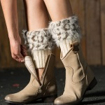 Plus Fertilizer To Increase Knitted Wool Boots Leather Grass Wool Leg Warmers Leggings Short Leopard Feather Yarn Socks Turned Mouth - Ivory