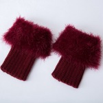 Plus Fertilizer To Increase Leather Grass Wool Leg Warmers Knitted Wool Leggings Short Boots Turned Mouth Solid Color Feather Yarn Socks - Black