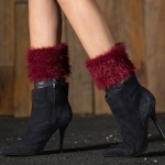 Plus Fertilizer To Increase Leather Grass Wool Leg Warmers Knitted Wool Leggings Short Boots Turned Mouth Solid Color Feather Yarn Socks - Burgundy