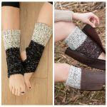 Latin Dance Legs Warm Spell Color Sleeve Knit Wool Blending Function Boots Yoga Yoga Socks Step Foot Thick - Light Gray / Ivory
