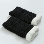 Thickened Knee Leg Warmers Knitted Wool Warm L-shaped Sheath Cashmere Socks - Dark Khaki
