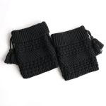 Leggings Sets Women Warm Wool Knit Boots Introversion Pick Holes Twill Tassels Head Socks - Ivory