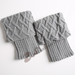 Women Warm Socks Knitted Wool Boots Female Short Paragraph Diamond Mesh Leggings Sets Of Introversion - Old Khaki