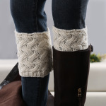Hand-knit Knitting Style Boot Cuff  Thick Bamboo Flower Wool Socks Thick Needle Socks - Dark Coffee
