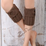 Knitting Wool Gloves For Women Warm Leg Coverings Introversion Button Mushroom Buckle Boots Socks - Old Khaki