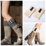 Knitted Leg Warmers Boots Warm Wool Leggings Under Short Socks - Gray / White