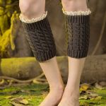 Knitting Wool Leggings Warm Autumn Winter Boots Short Paragraph Lace Socks - Burgundy