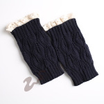 Knitted Wool Leggings Warm Autumn Winter Boots Short Paragraph Lace Socks - Dark Gray