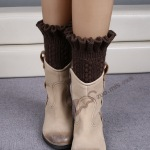 Legs Warm Wool Knit Boots Flower Buds Introversion Seats Knitting Socks - Dark Coffee